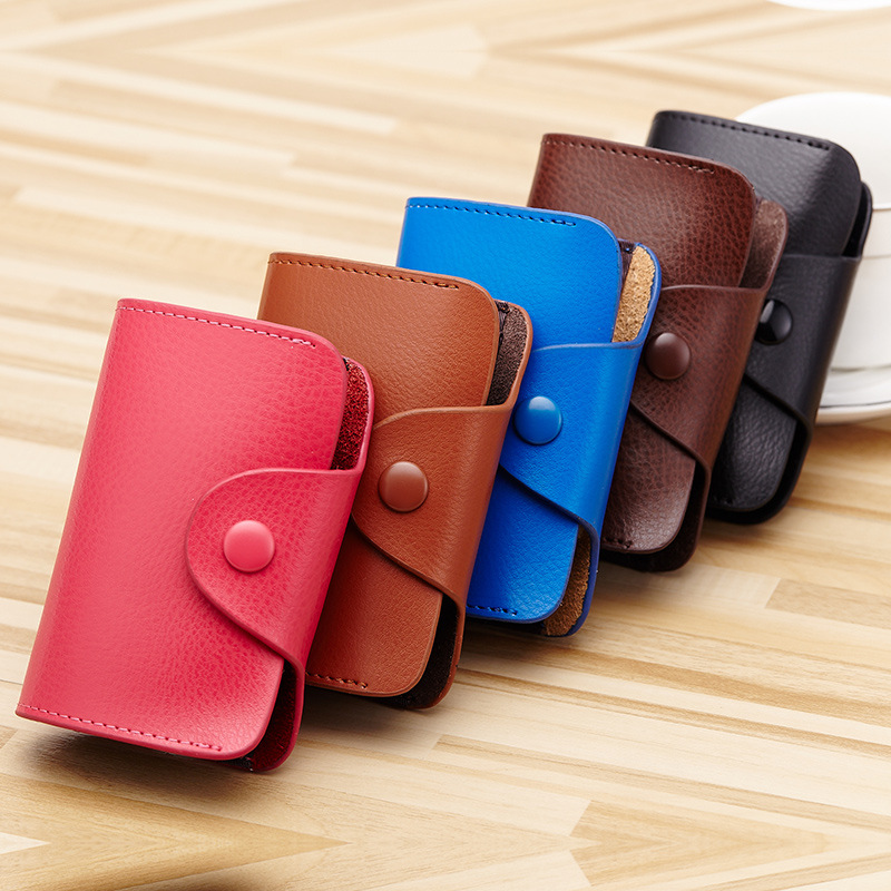Disciplined 1pc Leather Card Holder Papeleria Men Women Stationary Business Id Card Holder Bank Credit Card Purse Storage Bag Wallet Gifts