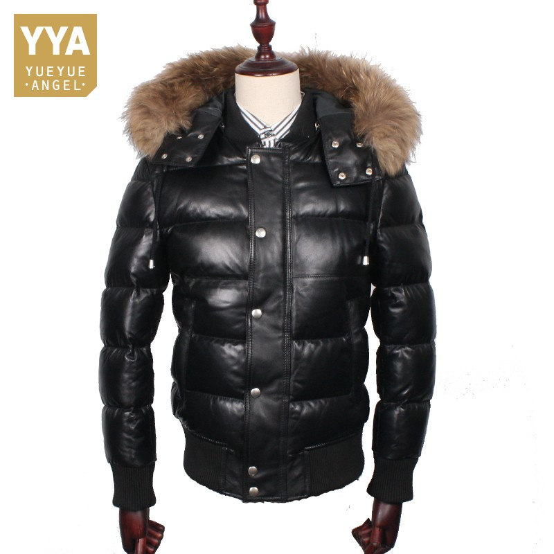 Mens bomber leather jackets padded down coat outwear winter jacket coat