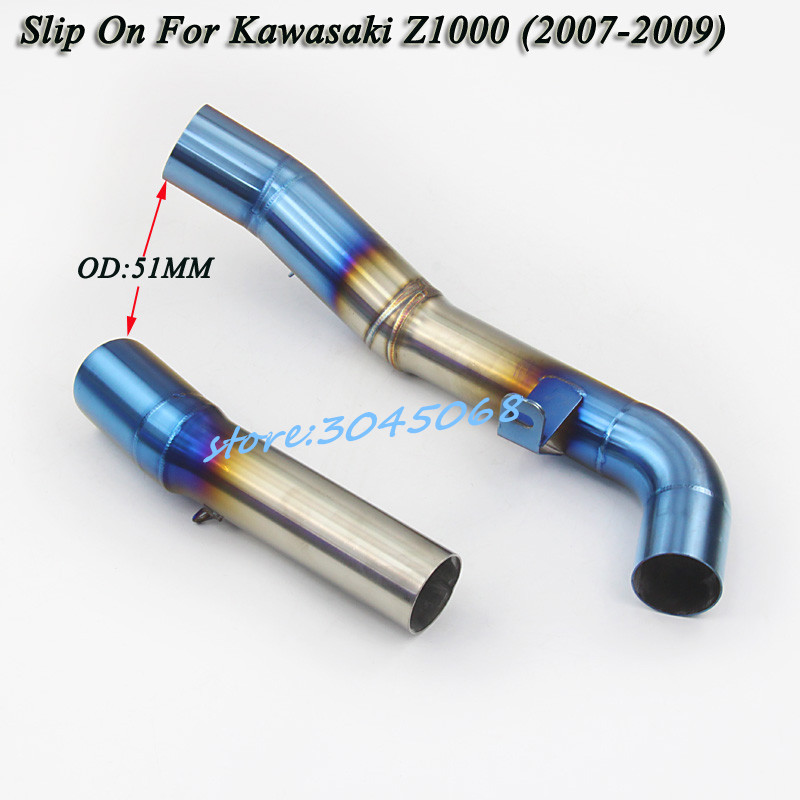Motorcycle Full System Exhaust Escape Muffler Modified Middle Link Pipe Slip On For Kawasaki Z1000 2007 2008 09 Without Exhaust