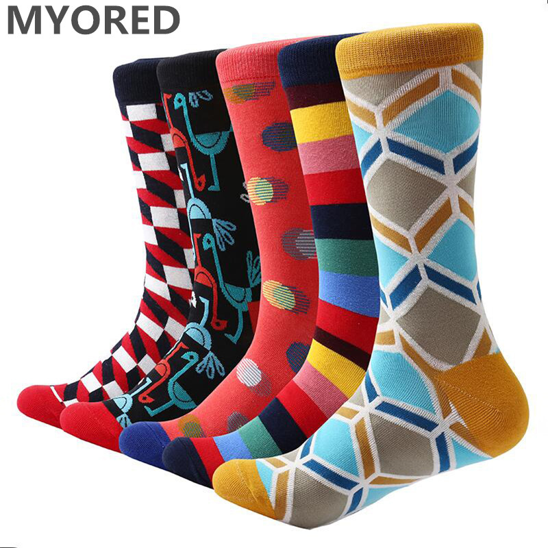 MYORED 5 Pair/lot Men Casual Dress Cotton Socks Bright Color Funny Skateboard Sock Business Crew Wedding Socks Men's Gift Socks