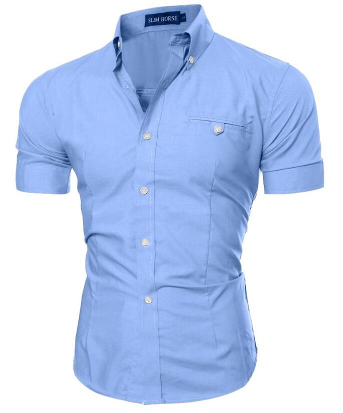 Men shirt luxury brand 2017 male short sleeve shirts for Mens slim hawaiian shirt