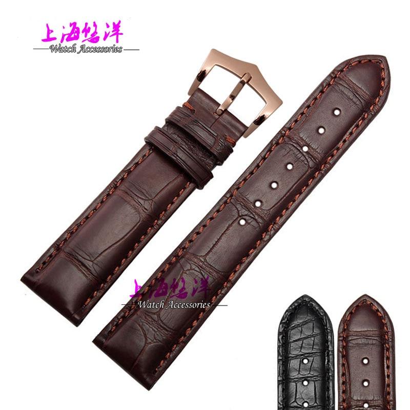 Bracelet en cuir véritable alligator 18/19/20/21mm noir marron argent-boucle rose-or-boucle