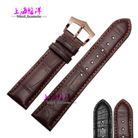 Genuine alligator leather watchband 18/19/20/21mm black brown silver buckle rose gold buckle