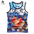 2017 Summer Beach Tank Tops Mens Casual Fashion Eagle Print Cotton Sleeveless Shirt Vest Grid Breathable Tee Free Shipping LW456