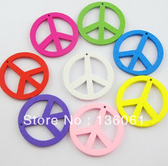 Mixed Wood Peace Sign Charms Pendants Vintage For Jewelry Making Findings Bracelets Crafts Handmade Accessories 10PCS Z2225