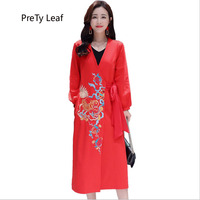2018 autumn and winter new embroidered coat long trench coat