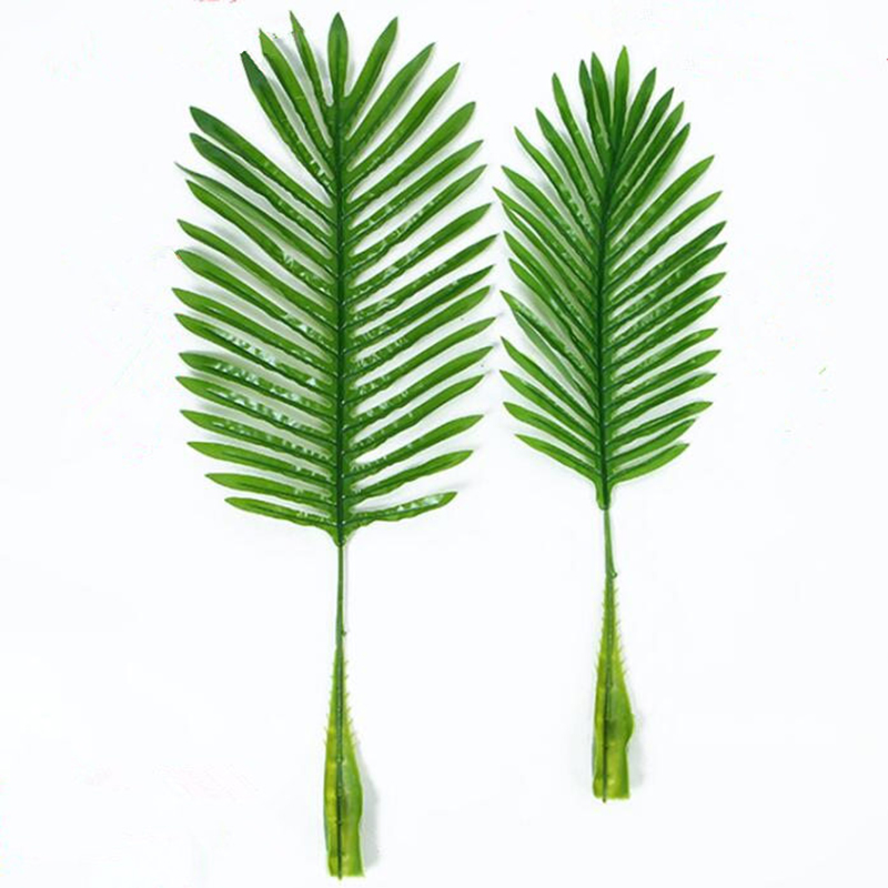 30Pcs/lot Artificial fake Plastic Coconut tree Leaves green plant Fake Palm Tree Leaf for scenery flore wedding decoration