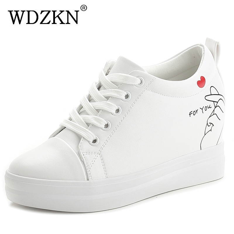 WDZKN New Spring 2018 Women Height Increasing Platform Shoes Black White Graffiti Lace Up Wedge Casual Shoes Women High Heels wdzkn 2017 platform high heels wedge women shoes chaussure femme black white hidden heels elevator shoes winter casual shoes