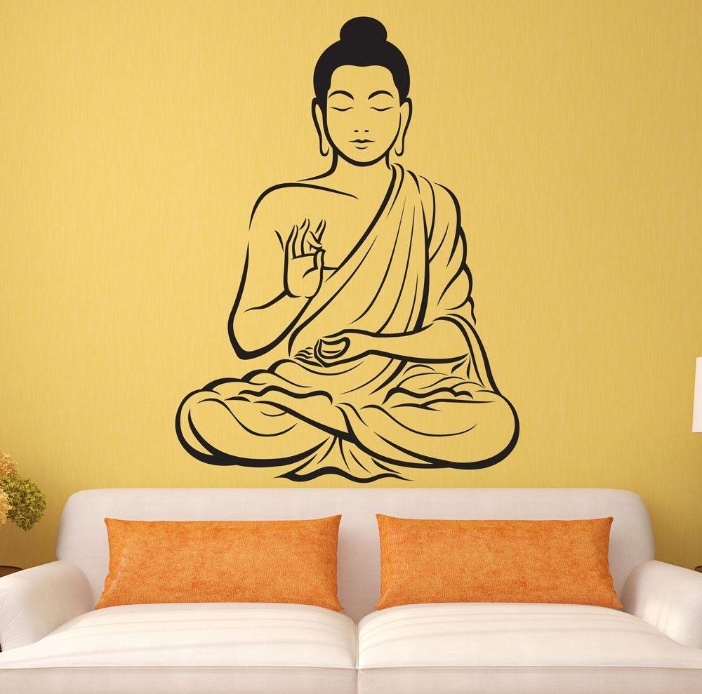 Indian Meditating Buddha Statue Yoga God Om Wall Decal Art ...