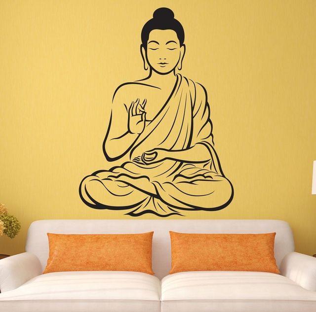indian meditating buddha statue yoga god om wall decal art decor