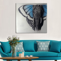 Abstract Wall Art Handpainted Oil Painting Beautiful Butterfly Elephant Paintings On Canvas Modern Art Animal Picture