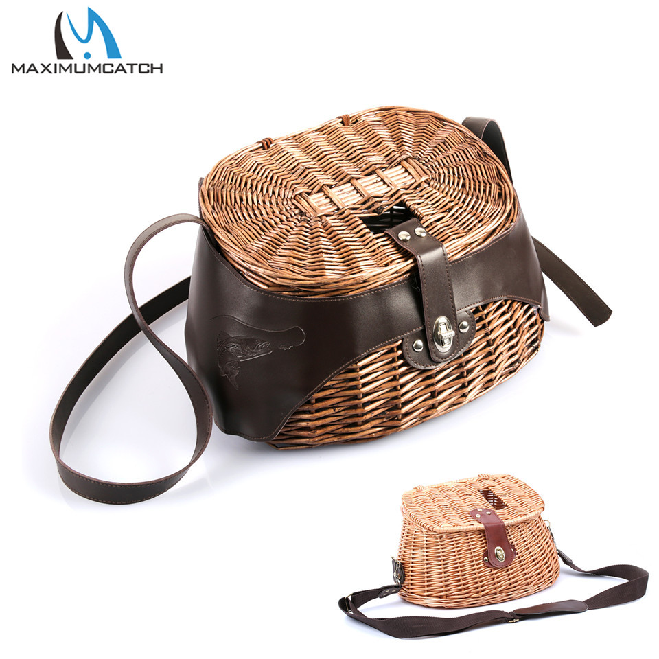 Maximumcatch Classical Willow Trout Fishing Creel Fishing Wicker Basket title=