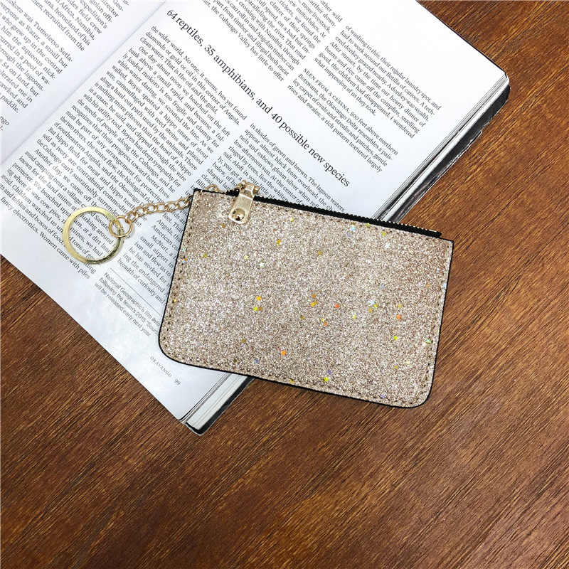 ebe44f36932e 2019 New Women Wallets Ladies Fashion Sequins Coin Purse Buckle Clutch  Ultra-Thin Star Zipper Black Leather PU DXH Mini Bag