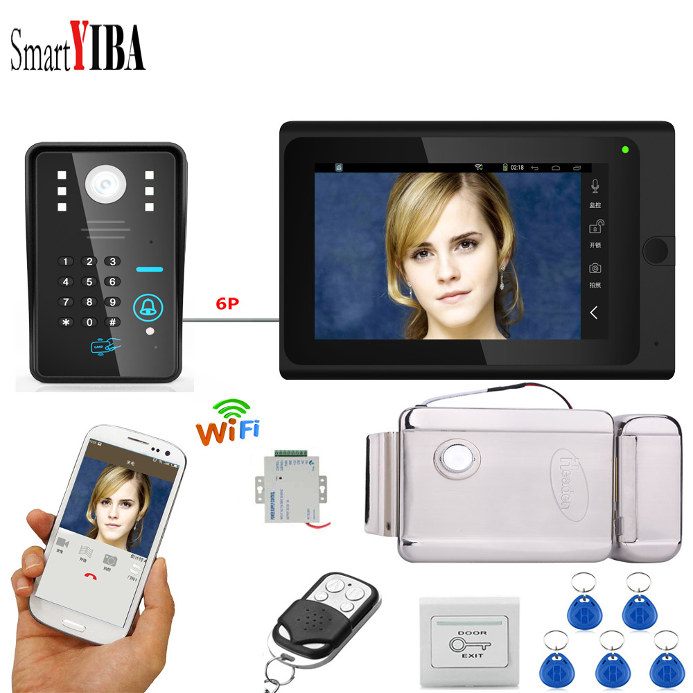 SmartYIBA APP RFID Password 7 Inch Monitor Wifi Wireless Video Door Phone Doorbell Camera Intercom System+Power Supply Door Lock