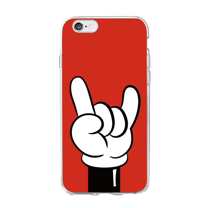 OLOEY Mickey Mouse Hand Gesture Pattern Soft Clear Phone Case Coque Fundas For iPhone5 6 6Plus 7 7Plus 8 8Plus X SAMSUNG