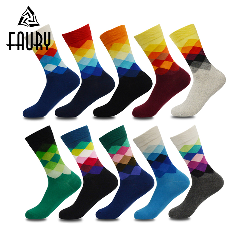 Buy 10 Pairs/Lot Men's Casual Socks Breathable Splicing Color Socks British Style Calcetin Wholesale Tube Socks Semi-High Socks for only 27 USD