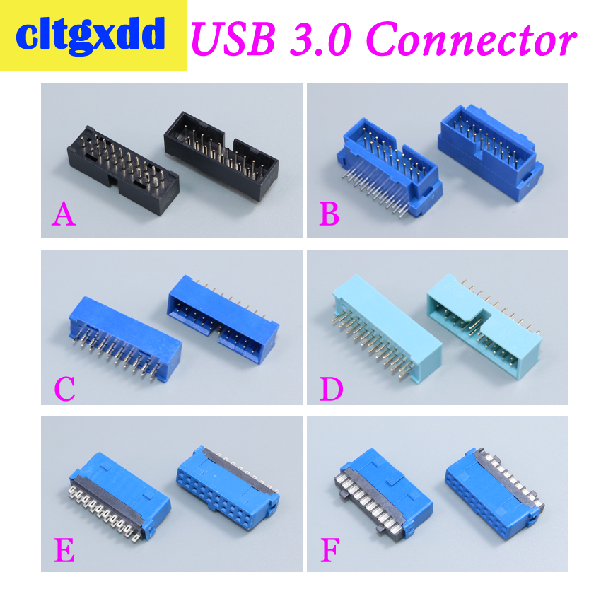 Cltgxdd 2pcs USB 3.0 20p 19pin USB3.0 Male Connector 180 Degree Motherboard Chassis Front Seat Expansion Connector Socket