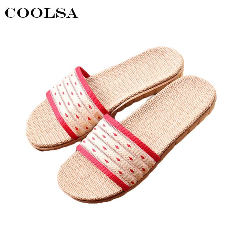Coolsa Hot Summer Womens Linen Slippers Flax Flip Flop Hollow Striped Fabric Non-slip Slides Indoor Woman Casual Beach Sandals