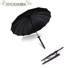 Стильный черный японский самурайский ниндзя меч катана Зонтик Солнечный и Радужный зонты с длинной ручкой полуавтоматический 8, 16 или 24 ребра