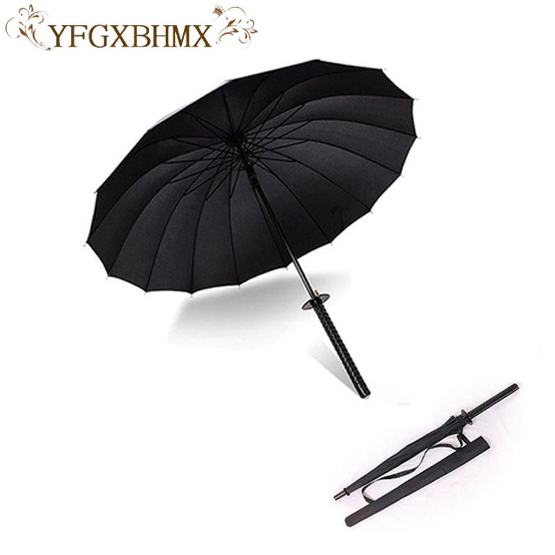 Elegante preto japonês samurai ninja espada katana guarda-chuva ensolarado & rainny guarda-chuvas de punho longo semiautomático 8, 16 ou 24 costelas