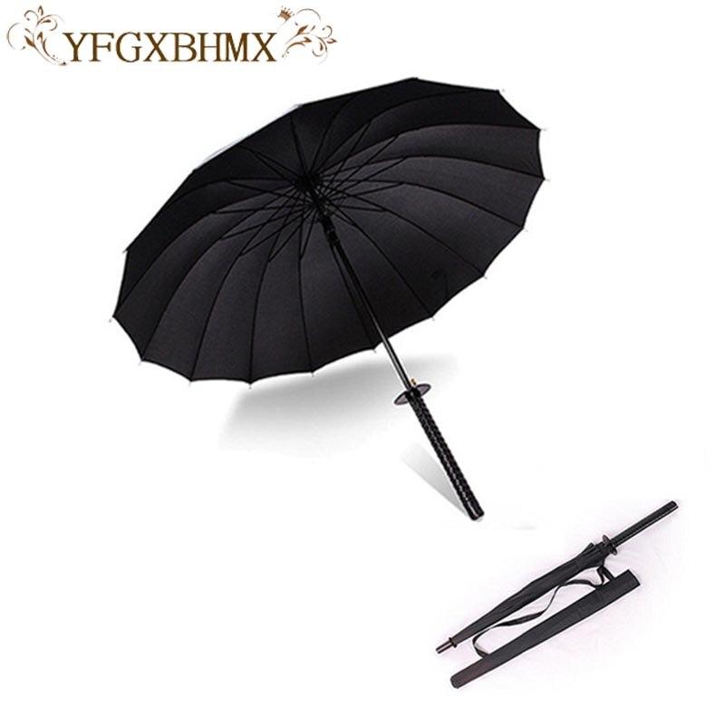 Preto à moda Japonesa Espada Samurai Ninja Katana Umbrella Ensolarado & Rainny Longa alça guarda-Chuvas Semi-automáticas 8, 16 ou 24 Costelas