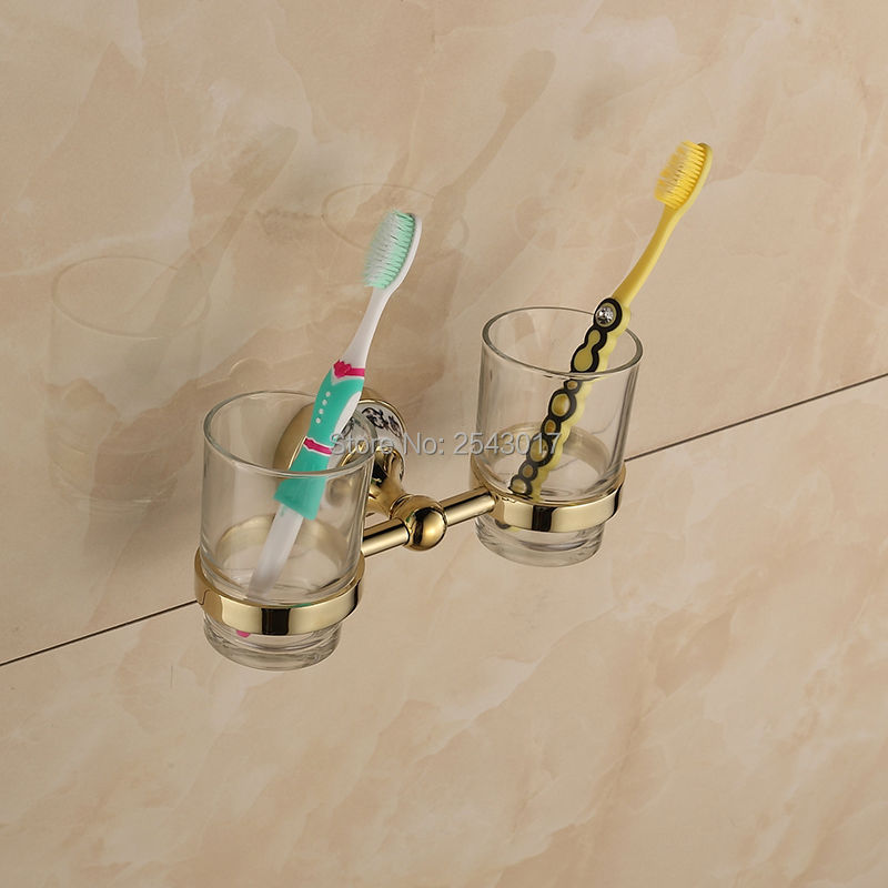 Bathroom Toothbrush Holder Golden Finish Cup&Tumbler Holder Double Glass Cup Bathroom Accessories Wall Mounted ZR2667 silver polish cup holder modern double tumbler holder flower design cup toothbrush holder bathroom accessories