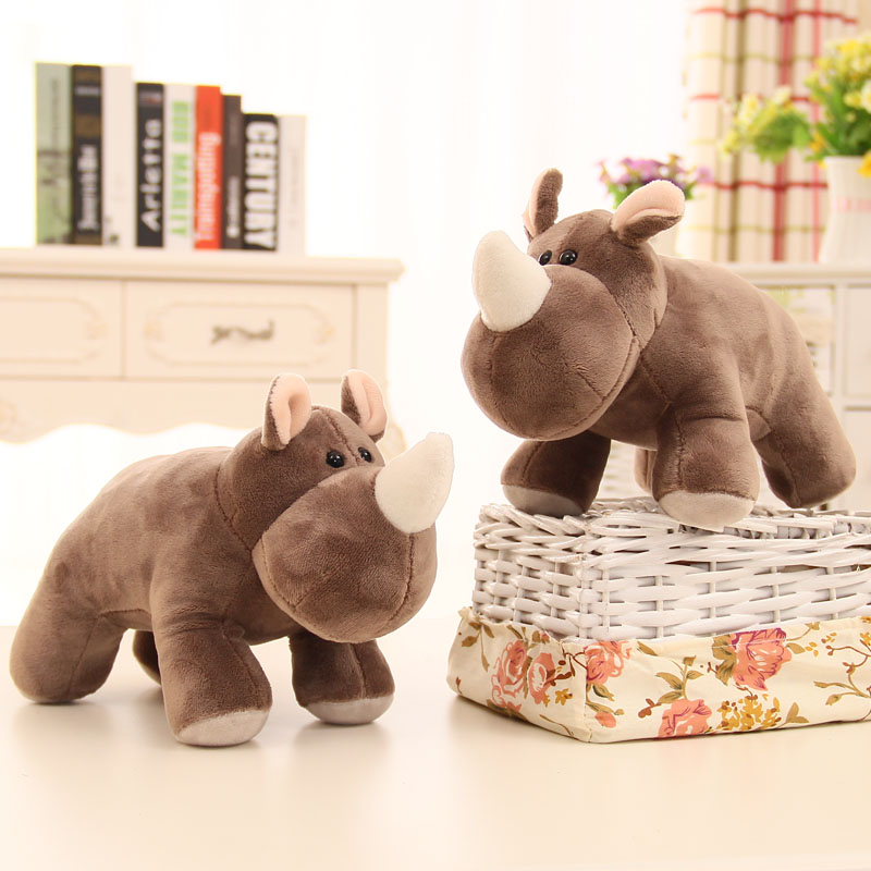 1pcs 25cm Plush Toy Simulation rhinoceros Baby Sleeping Appease Doll Kid Birthday Gifts Bells wedding dolls soft cute on bag/car