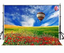 150x220cm Green Grass Photography Background Red Flowers Hot Air Ballon Photo Studio Props Nature Scene Backdrop