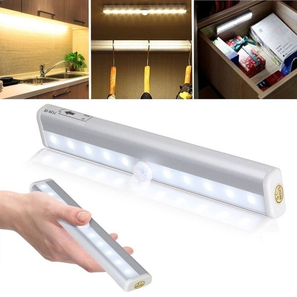 Беспроводной светодиодный светильник под шкафом, 6/10 светодиодов, светильник для шкафа, белый/теплый белый датчик движения, активированный ...