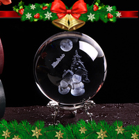 80mm 3D Laser Engraved Snowman Crystal Ball Miniature Glass Sphere Home Decor Ornament Christmas Gift Decoration Near Year Gift
