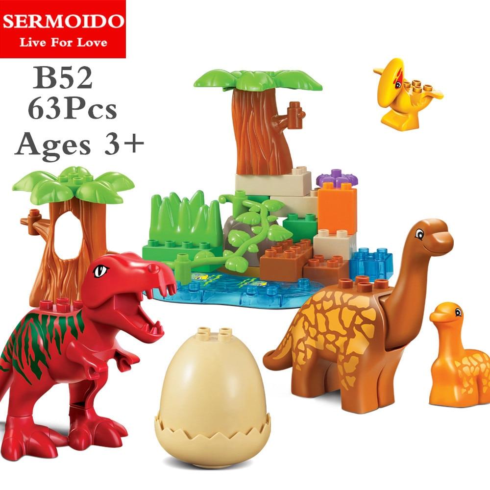 SERMOIDO 63Pcs/Lot Dino Valley Building Blocks Sets Large particles Animal dinosaur World Model toys Bricks Duploe B52