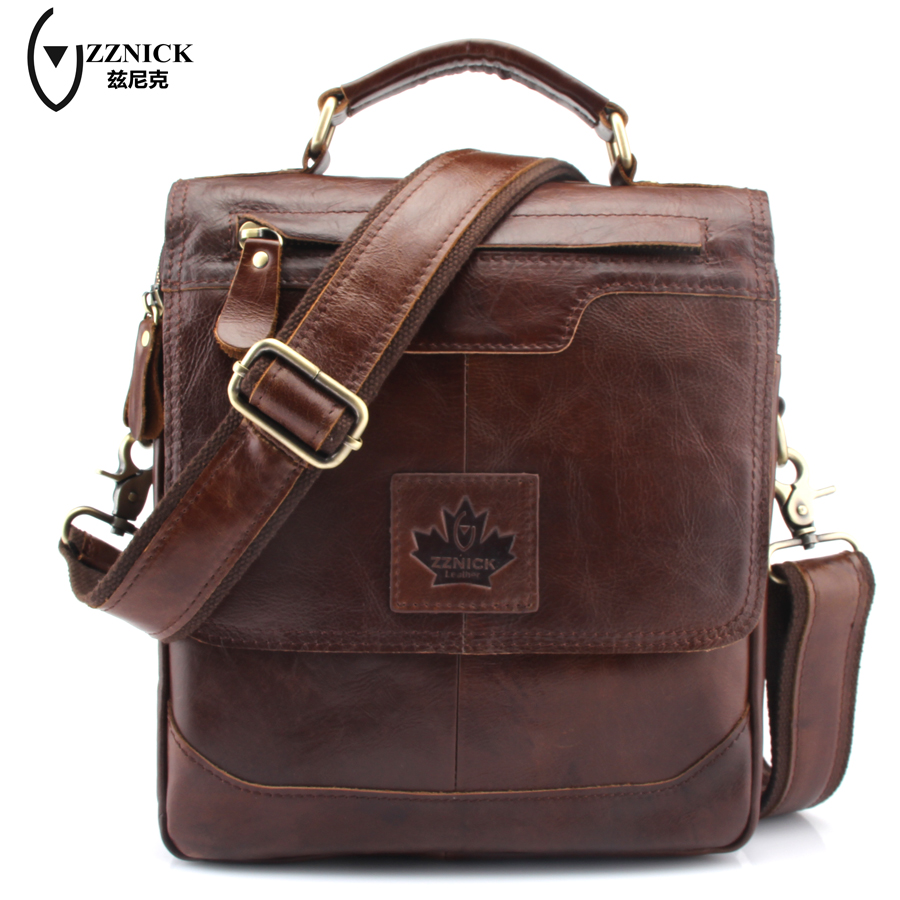ZZNICK Genuine Leather Men Bags casual men's Messenger Bag flap Shoulder Crossbody Bags male men leather bag handbags 6906# mva genuine leather men s messenger bag men bag leather male flap small zipper casual shoulder crossbody bags for men bolsas
