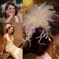 Bir-09034 venda melhor qualidade Gauranteed macias penas de casamento de noiva Birdcage Veils reais fascinador chapéus