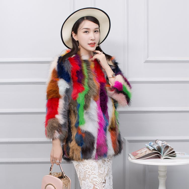 100 Lovely Personnalisé Taille Jn546 Cm Multi Coloré Véritable 70 Manteau  Femmes Veste Grande De Laveur ... 3e0e8a51b0e