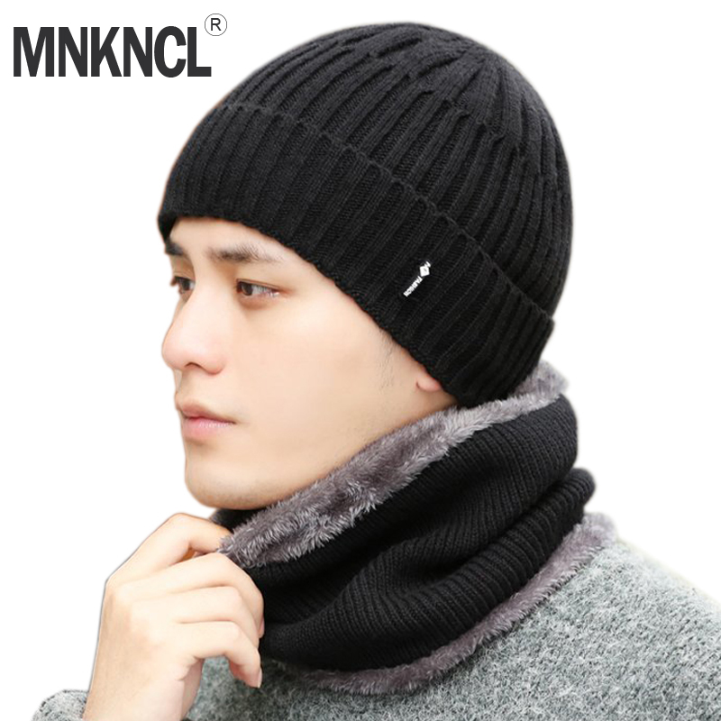 MNKNCL Winter Hat   Skullies     Beanies   Hats Winter   Beanies   For Men Women Wool Knitted Hat Scarf Set Balaclava Mask Gorras Bonnet