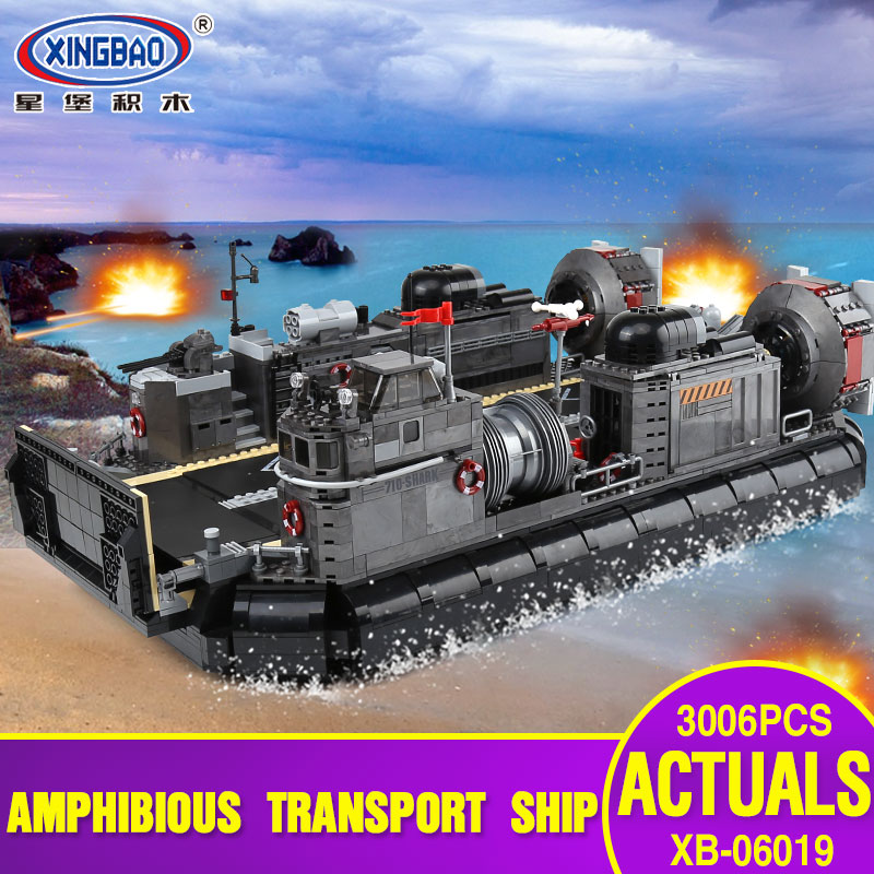 XINGBAO 06019 Genuine Military Series 3006Pcs The Amphibious Transport Ship Set Building Bricks Blocks Toys As Christmas Gifts black pearl building blocks kaizi ky87010 pirates of the caribbean ship self locking bricks assembling toys 1184pcs set gift