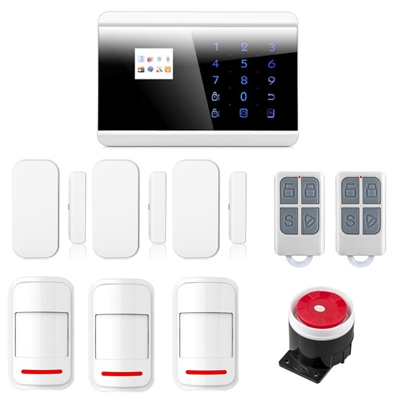 English/Russian/French/Spanish Wireless GSM PSTN Home Burglar Intruder Alarm System Phone APP Control with Intelligent Sensors wireless gsm pstn home burglar intruder alarm system built in loud siren 8218g english