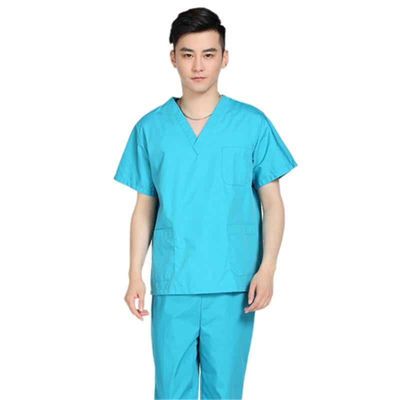 New men medical scrub sets hospital doctor uniforms dental for Spa uniform policy