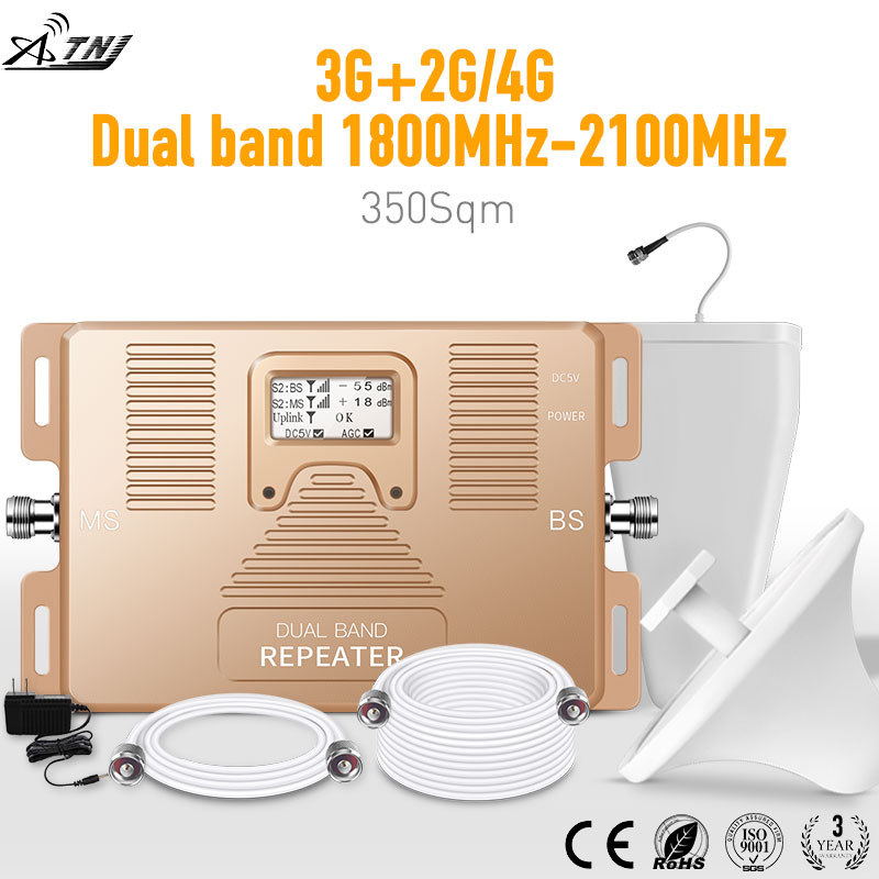 Specially For Russia!!2g+3g(MegaFon MTS Beeline)Tele2/4Gcellular Signal Amplifier 1800/2100mhz LCD Cellular Signal Repeater Kit