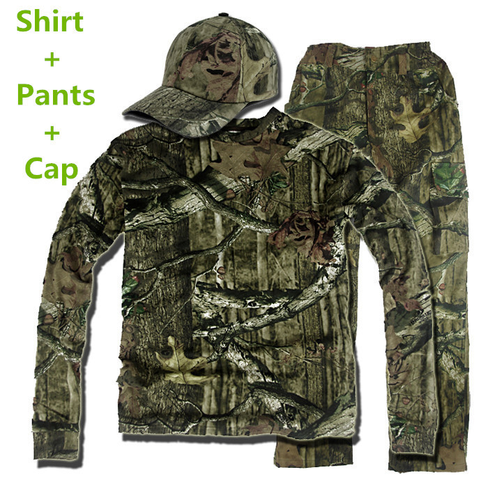 New bionic camouflage hunting clothes green leaf breathable Shirt and Pants suitable for spring autumn free shipping or fabric camouflage leaf headgear
