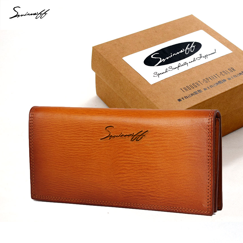 SMIRNOFF Famous Brand Purse Vintage Custom Name Vegetable Tanned Leather Wallet Long Genuine Leather Purse Wallet smirnoff slim genuine leather wallet case hand made custom name hasp simple style mens wallet super thin card purse mini wallet