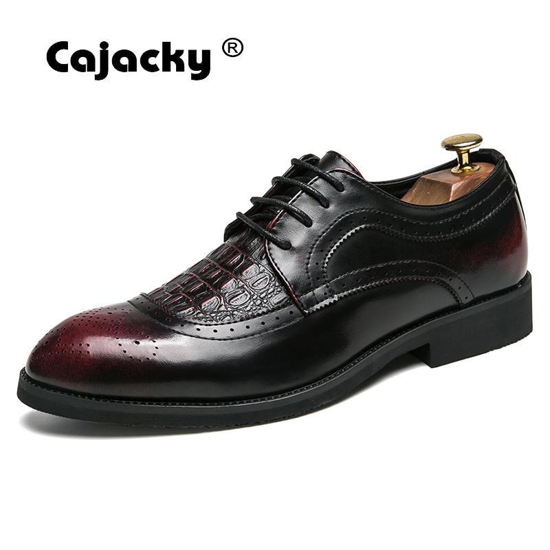 Cajacky Men Leather Dress Shoes Large Size Brogue Shoes Wine Red Black Lace Up Dress Footwear 10 9.5 Breathable Brogue Zapatos yween new men brogue dress shoes with lace up business leather shoes large size