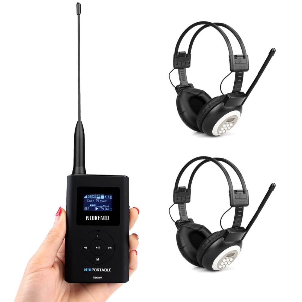 2pcs Headphone + Portable 0.6W FM Transmitter MP3 Broadcast Radio Transmitter for Meeting Church Tour Guide System Y4440 niorfnio portable 0 6w fm transmitter mp3 broadcast radio transmitter for car meeting tour guide y4409b