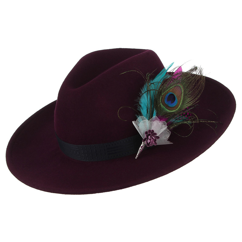 eeb76ac91294e Vintage Women Jazz Cap Fedora Hat Solid Color Wide Brim Cowboy Hat Elegant  Feather Decor 100% Wool Felt Hat Sunhat-in Fedoras from Apparel Accessories  on ...