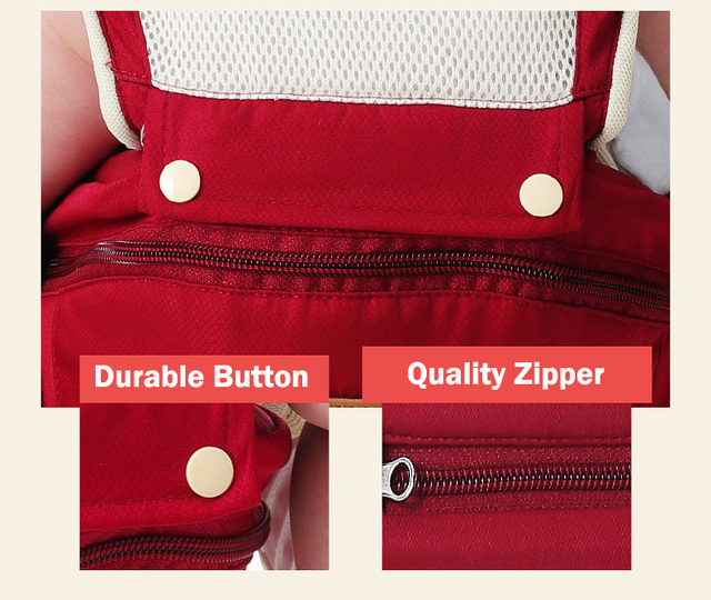 Durable Ergonomic Baby Carrier with Large Capacity Storage – Bright red