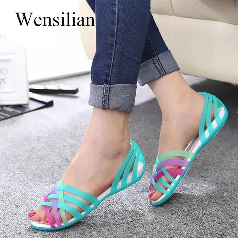Clear Sandals Jelly-Shoes Slides Peep-Toe Women Ladies Feminina Mujer