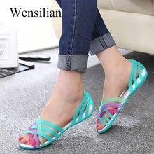 Women Jelly Shoes Clear Sandals Peep Toe Sandalia Feminina B