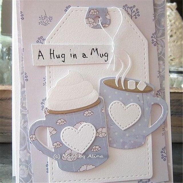 Miłość serce kawy i herbaty puchar DIY tłoczenie matryce do cięcia metalu szablony do scrapbookingu cięcia Album ślubny boże narodzenie karty Craft