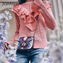 JaMerry Hollow out autumn sweater pullover women Elegant ruffles slim pink sweater Women streetwear casual winter jumpers female