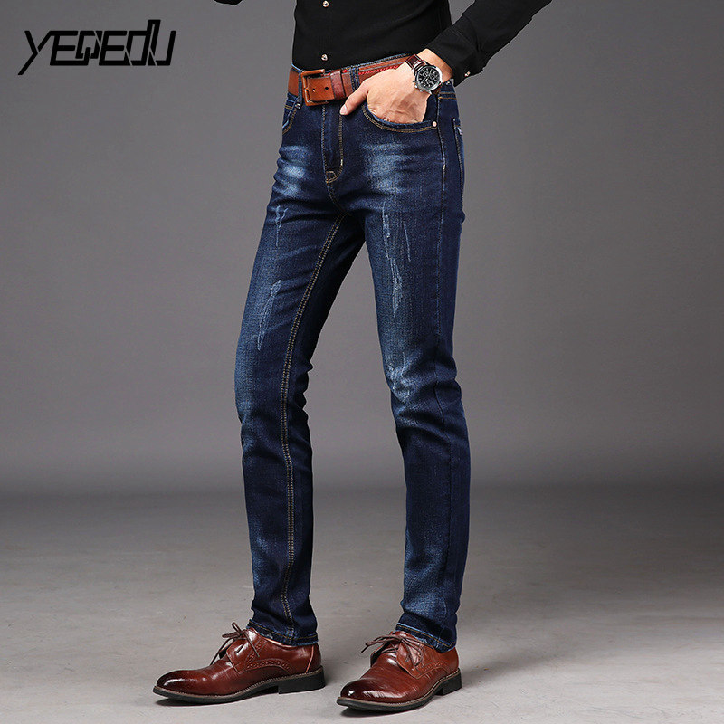 #1450 2018 Spring Blue jeans homme Regular fit Jeans masculino Stretch denim Straight High quality Stretch Jeans for men Fashion